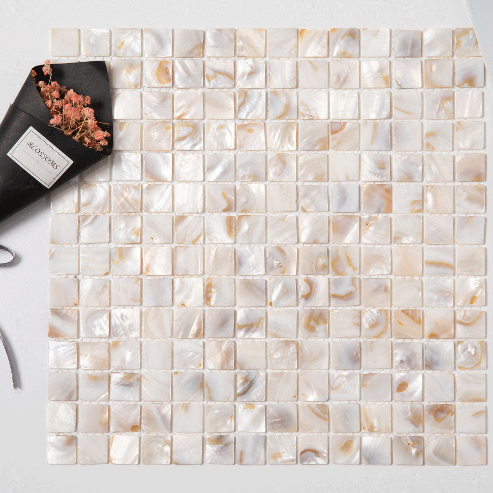 Light Colorful Mother Of Pearl Shell Mosaic Square Tile Pack of 10