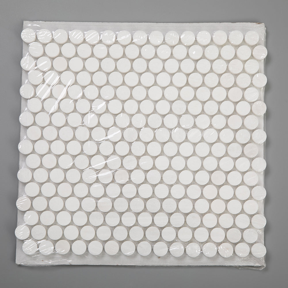 Thassos White Marble 3/4 inch Penny Round Mosaic Tile Pack of 5
