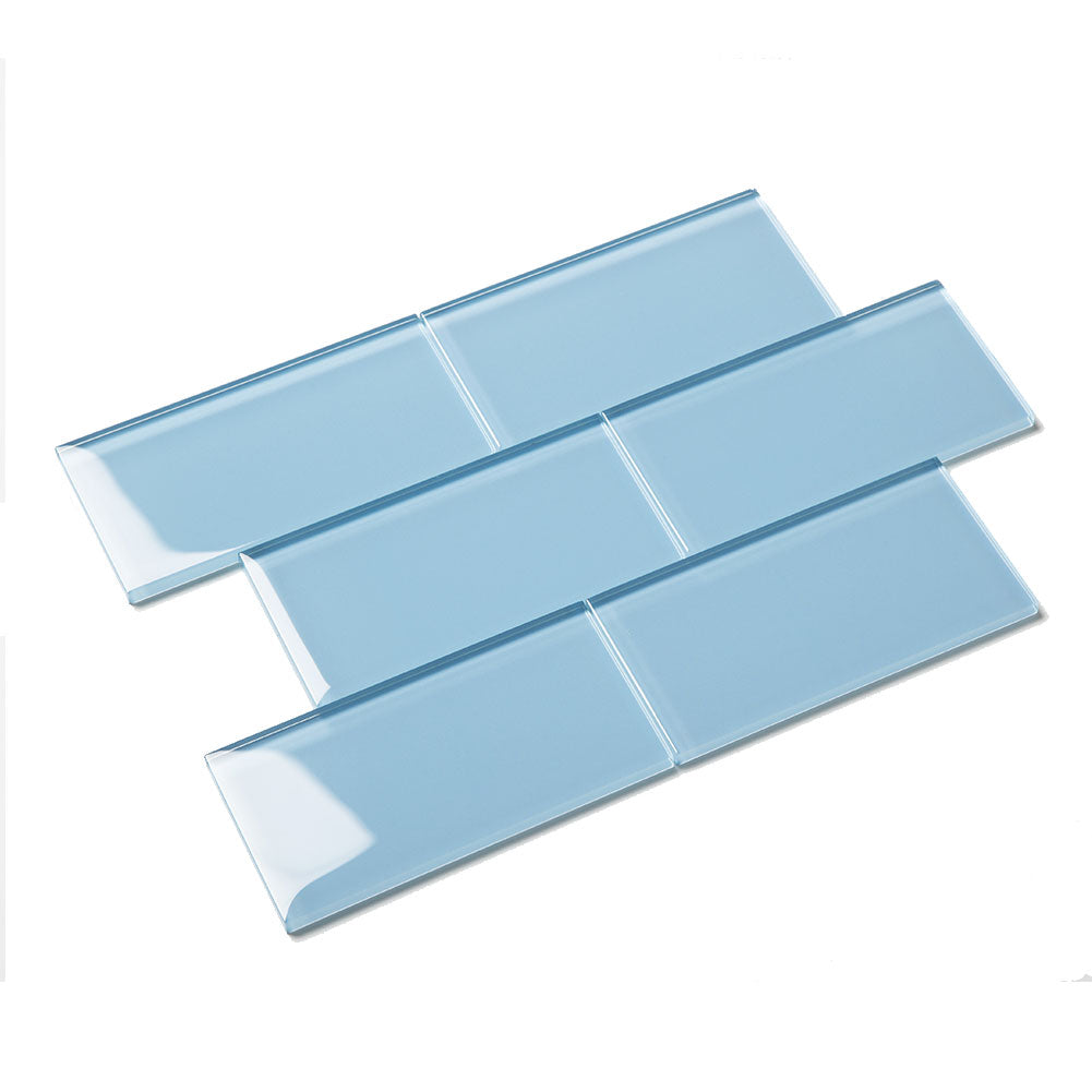 3x6 Sky Blue Glass Subway Tile
