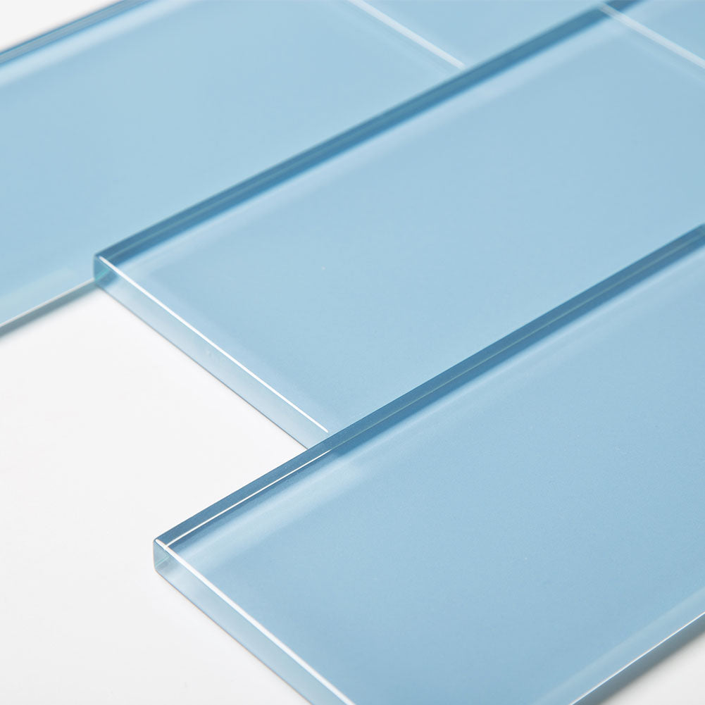 3x6 Sky Blue Glass Subway Tile Pack of 40 (5 sq.ft)