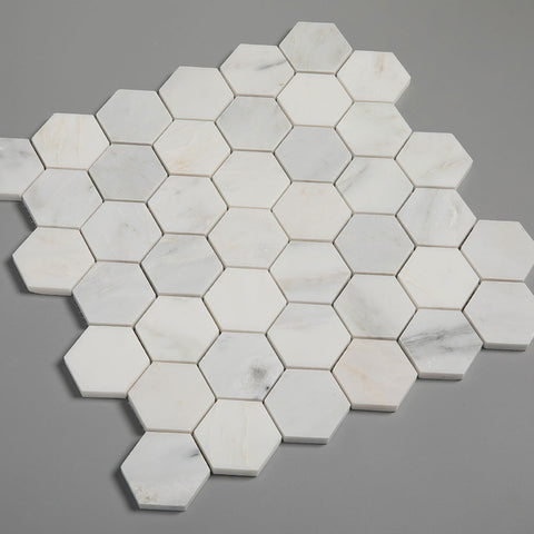 Hexagon Asian Statuary (Oriental White) Marble Tile 2 inch