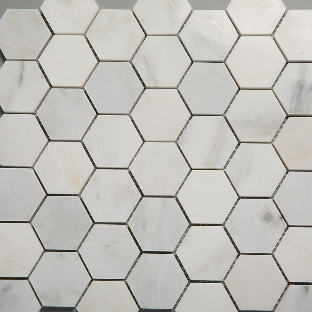 Asian Statuary (Oriental White) Marble 2 inch Hexagon Mosaic Tile Pack of 5