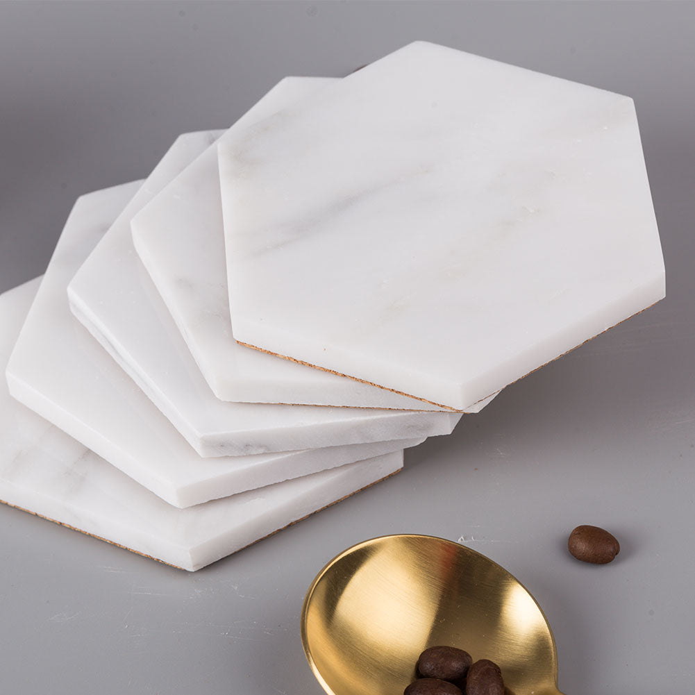 Statuary White Marble Coaster 6 Pack