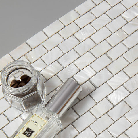 Pure White Brick Pearl Shell Mosaic Tile (10 Sheets)
