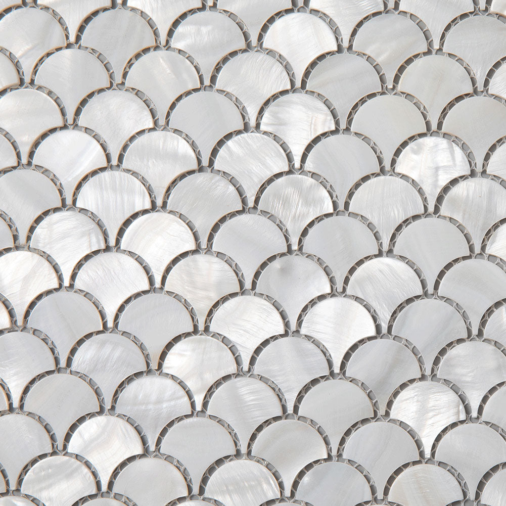 Super White Mother Of Pearl Shell Mosaic Fan-shaped Tile Pack of 10