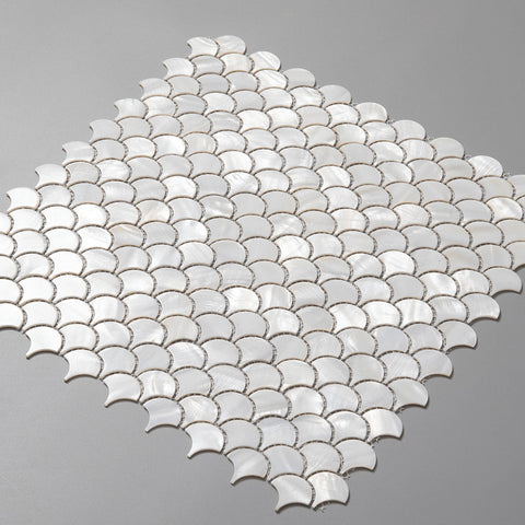 Pure White Pearl Shell Fan-shaped Mosaic Tile (10 Sheets)