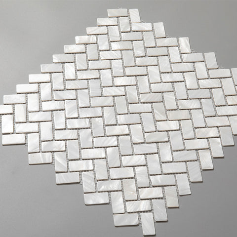 Super White Pearl Shell Herringbone Mosaic Tile