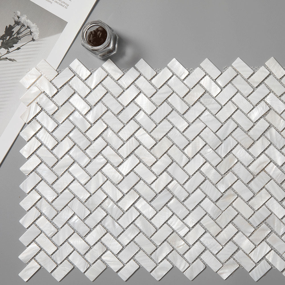 Super White Mother Of Pearl Shell Mosaic Herringbone Tile Pack of 10