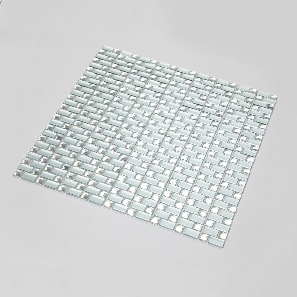 Frosted Glass Crystal Diamond Mirror Mosaic Tile Pack of 5