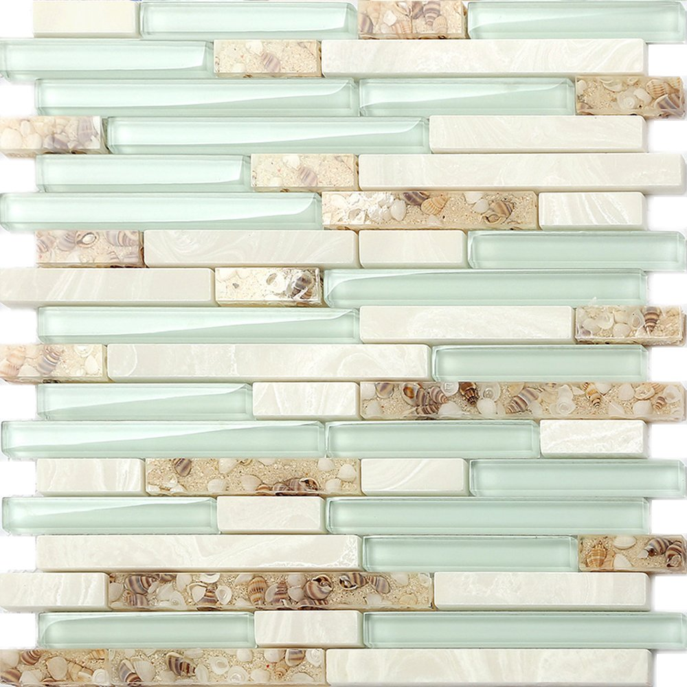 Beach Style Glass Tile MOP in Resin Kitchen Backsplash Tile Pack of 5