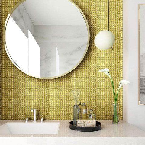 13 Facet Gold Glass Bling Mirror Mosaic Tile