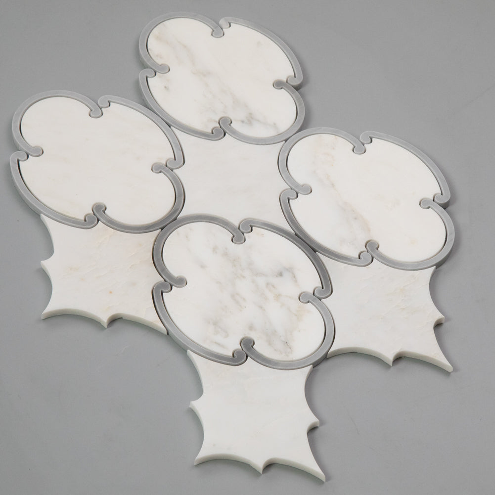 Statuary White with Latin Gray WaterJet Marble Mosaic Tile