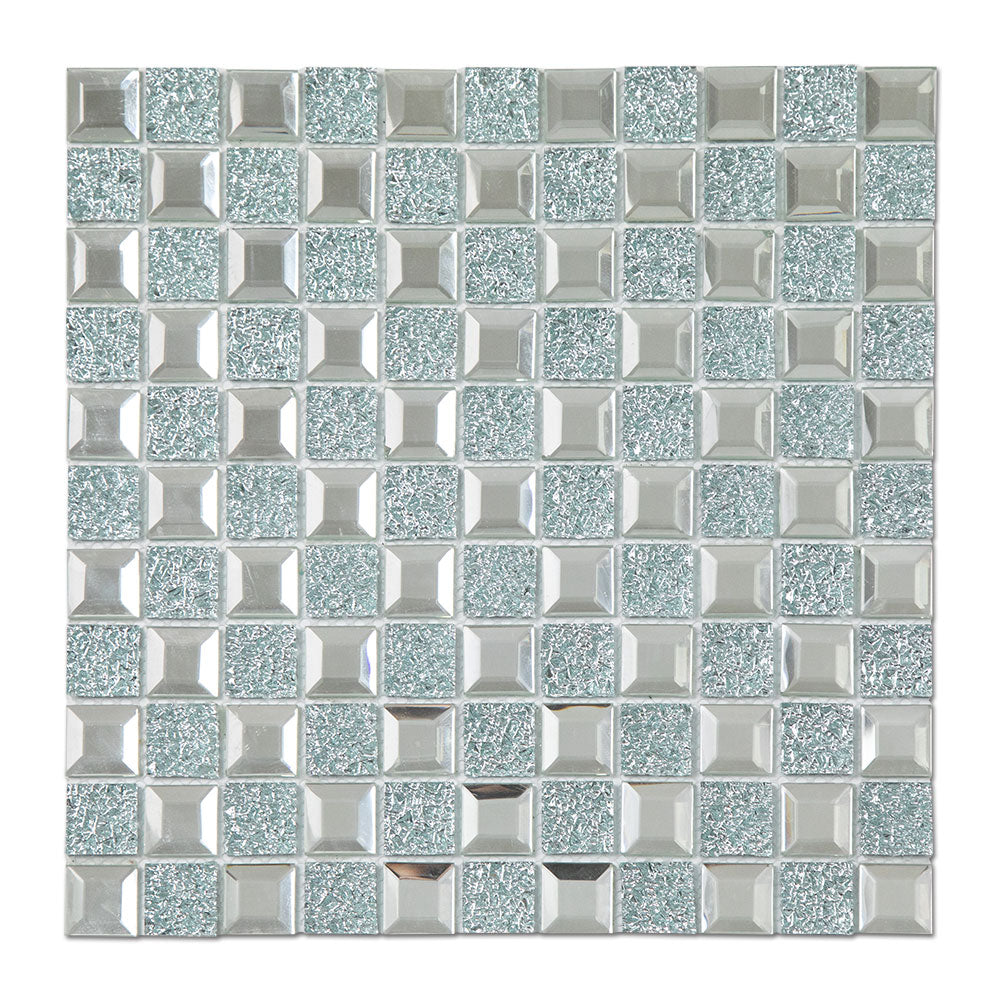 Mirror Glass Mosaic Tile Crystal Diamond Mosaic Tile Pack of 6