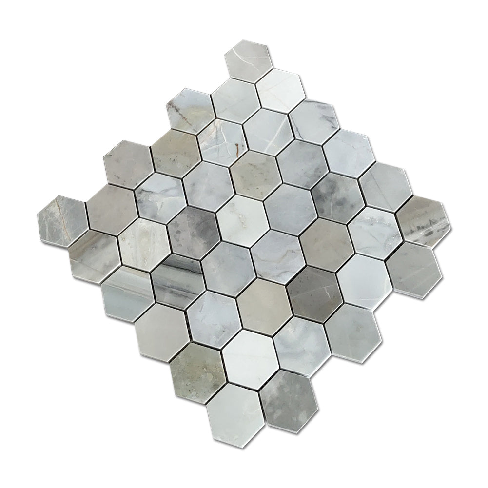 Mugwort Blue 2 Inch Hexagon Marble Mosaic Tile Pack of 5