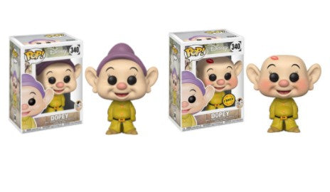 2X Funko POP! Dopey Disney Snow White and the Seven Dwarfs #340 [Common and Chase Bundle]