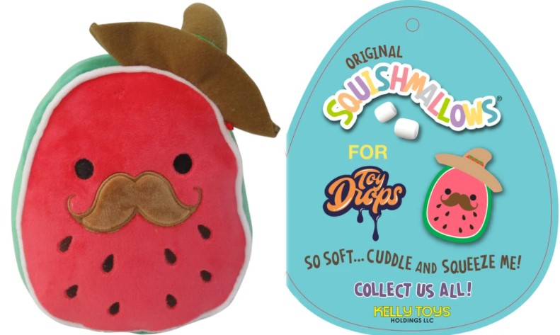 "Squishmallow 7"" Arturo the Watermelon with Sombrero and Mustache Super Soft Mochi Squishy Plush Toy"