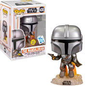 Funko POP! The Mandalorian Flying with Blaster Star Wars Glow In The Dark #408 [Gamestop Exclusive]