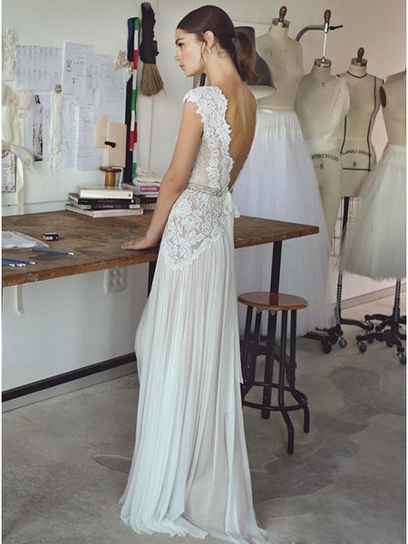 2019 Beach Boho Wedding Dresses Backless Bohemian Lace Tulle Bridal dress Gown, Y0571