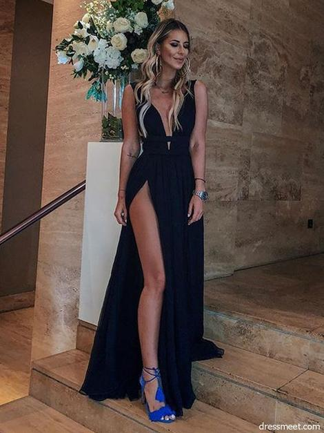Sexy A Line V Neck High Slit Chiffon Black Long Prom Dresses, Simple Evening Dresses, Party Dresses 1004