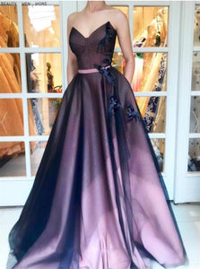 Sweetheart A Line Appliques Tulle Prom Dress 1007