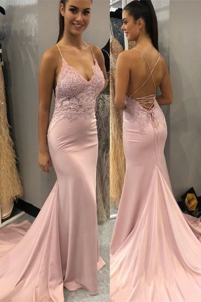 Mermaid Spaghetti Straps Dusty Pink Prom Dress 1011