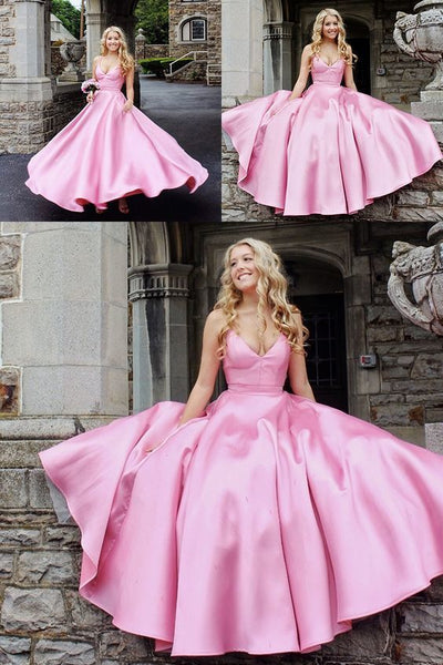 Princess A-line Pink Long Prom Dress with Pockets 1013