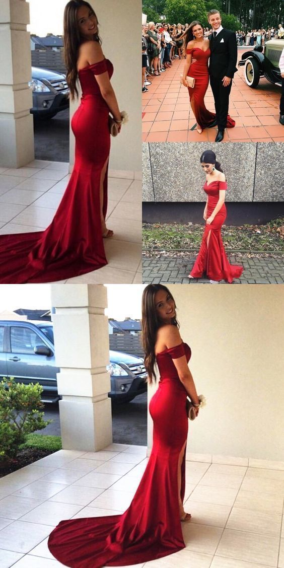 Prom Dresses Beautiful, Sexy Off the shoulder Mermaid Long Dark Red Prom Dress Evening Dress 1015