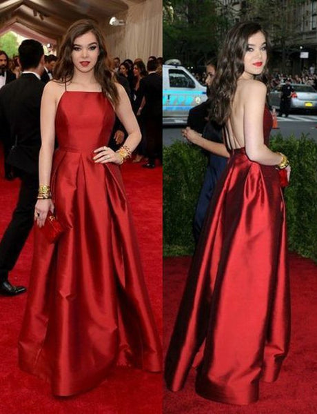 Elegant A Line Halter Backless Sleeveless Long Red Satin Prom/Evening Dresses 1021