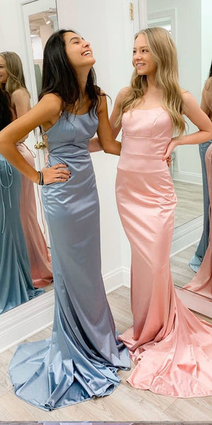Sheath/Column Satin Scoop Spaghetti Straps Long Prom Dress 1022