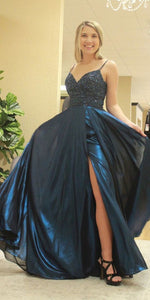 A-Line Navy Blue Satin Beaded Spaghetti Straps Long Prom Dress 1023