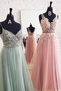 Princess Spaghetti Straps Tulle Beaded Long Prom Dress 1026