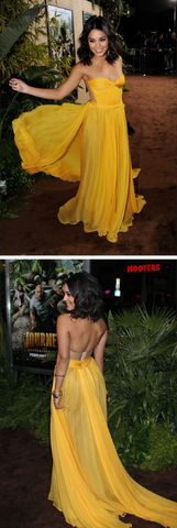 Yellow Chiffon Prom Dress,Sweetheart Prom Dress,Custom Made Evening Dress 1041