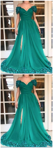 High Split Long Prom Dresses Custom Plus Size Hunter Green Tulle A Line Off Shoulder 3D Flowers 1043