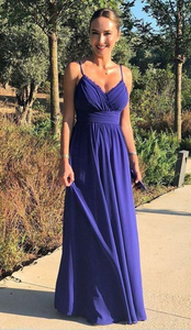 Simple Sexy Spaghetti Straps V Neck Chiffon Long Prom Dress, Elegant Evening Party Dress 1044