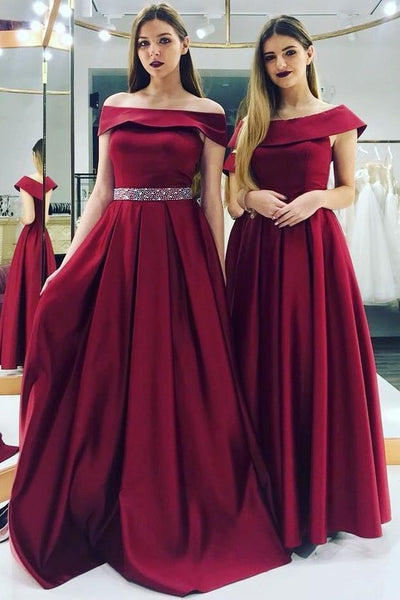 Charming A-Line Off the Shoulder Burgundy Satin Long Prom Dresses with Beaded,Evening Party Dresses 1046