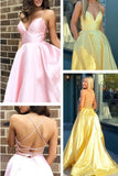 satin long prom dresses 2020, pink prom dresses with lace up back, yellow prom dress with pockets 1049