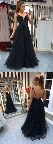 Black tulle beads long prom dress black evening dress 1069