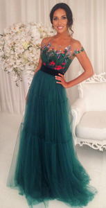 Short Sleeves Green Tulle Evening Dress Floral Appliques A-Line Prom Dresses 1074
