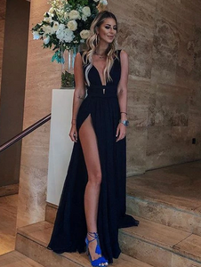 Sexy A Line V Neck High Slit Chiffon Black Long Prom Dresses, Simple Evening Dresses, Party Dresses 1084