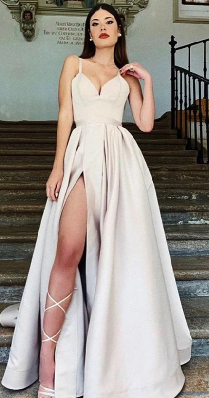 Simple A-line Spaghetti Straps Satin Sexy Slit Prom Dress 1100