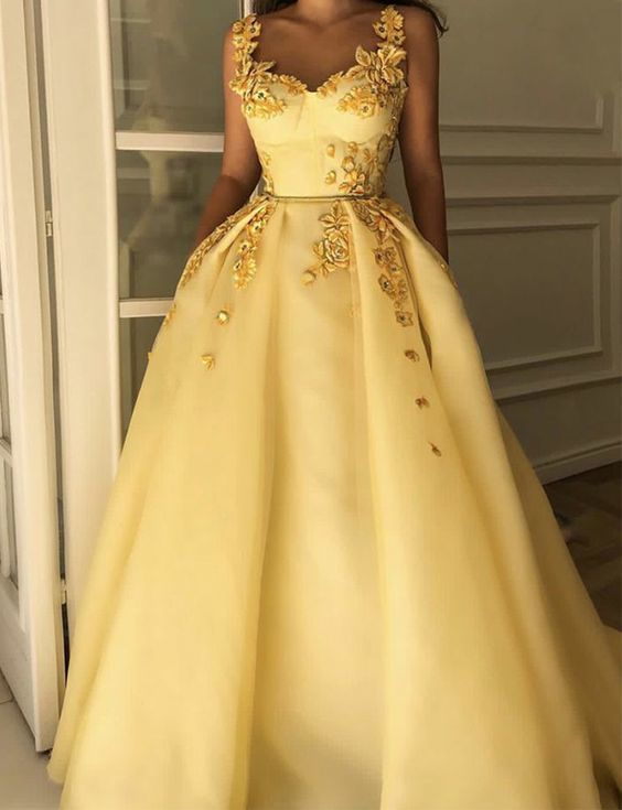 Fabulous Beautiful Straps Evening Dresses Long Tulle Yellow Prom Dresses with Appliques 1102