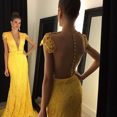 Yellow Lace Prom Dress Prom Dresses 1106