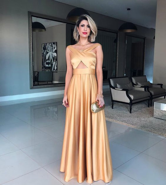 Gold prom dress,satin formal gowns,long prom dress 1111