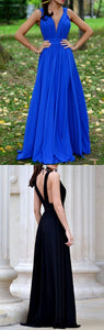 Deep V Neck Sexy Prom Dress Royal Blue Formal Evening Gown 1119