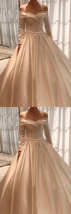 Vintage Prom Dress Satin Long Sleeves Ball Gown Off Shoulder 1122