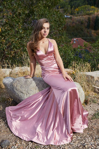 Long V-Neck Formal Prom Dress with Trumpet 1123