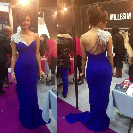 Mermaid Evening Gown Royal Blue, Prom Dresses One Shoulder Prom Gown 1125