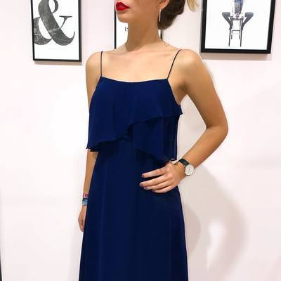 Straps Royal Blue Long Maxi Dress Bridesmaid Dress 1131