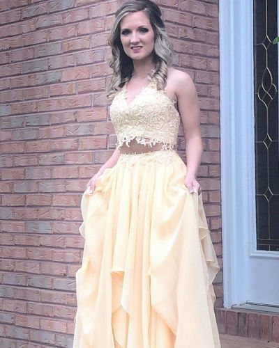V Neck Two Piece Yellow Long Prom Dress 1132