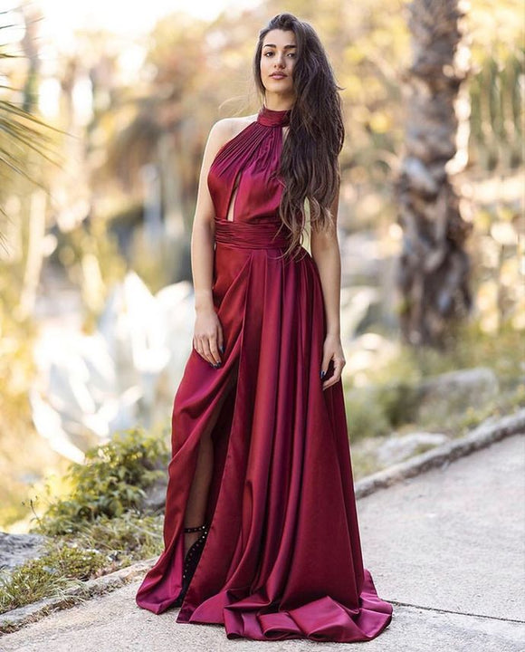 Sexy High Neck Burgundy Prom Dress with Slit 1133